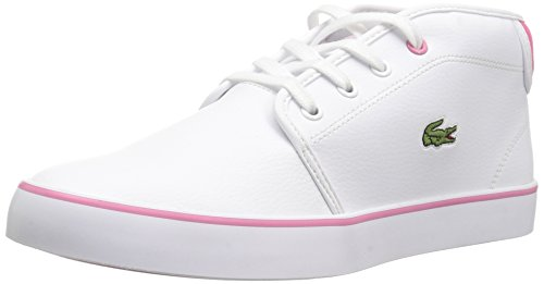 Lacoste Kids' Ampthill Chukka Sneakers,White/Pink synthetic,5.5 M US Big Kid (Classic Lacoste Pop)