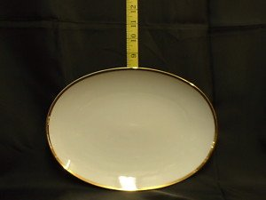 THOMAS CHINA 4MM WIDE GOLD 799 - 28cm OVAL STEAK PLATE PK2 - NEW - (Rosenthal Oval Plates)