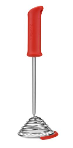 Dreamfarm Smood - One-Press Spring Coil Potato Masher with Silicone Pot Scraper (Red)
