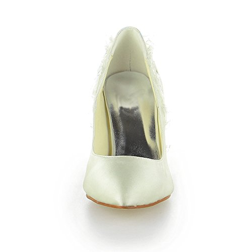 JIA JIA 8390B10 Women's Bridal Shoes Closed Toe Heels Lace Satin Pumps Wedding Shoes Ivory gmXamqNp