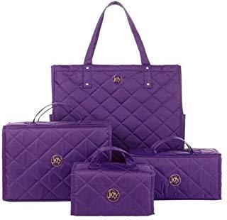 Joy Mangano 4-piece Quilted Better Beauty Case Set w/RFID Big Shopper Tote ~ Purple