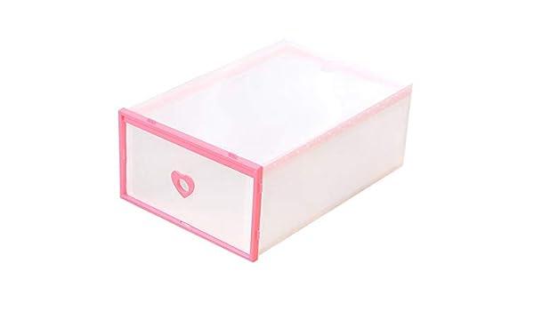 ZiXingA 6 Cajas para Zapatos Transparente Plástico, Caja Guardar Zapatos, Calcetines, Juguetes, Cinturones para la organización de su hogar, Oficina Rosado OneSize: Amazon.es: Hogar