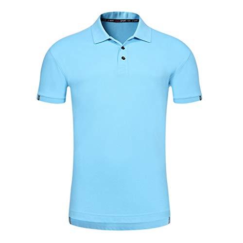 POQOQ Polo Shirt Men's Regular-fit Quick-Dry Stripe Golf Polo Shirt Men's Performance Polo Men's Regular-Fit Cotton Polo Shirt XS Blue