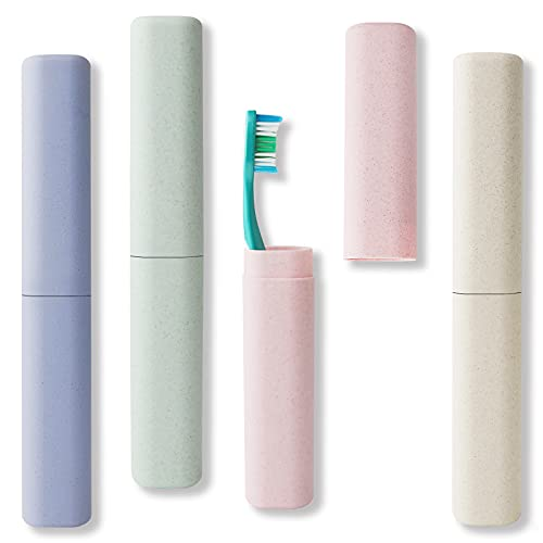 Travel Toothbrush Case Pack of 4, RIEYOOA Toothbrush Cover, Travel Toothbrush Holder for Travel/Camping/School, Portable and Breathable