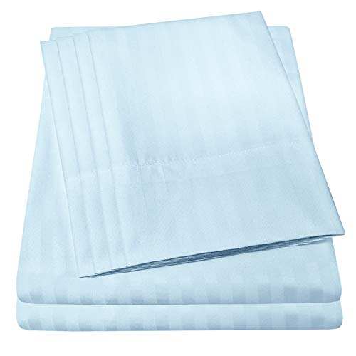 King Size Bed Sheets - 6 Piece 1500 Thread Count Fine Brushed Microfiber Deep Pocket King Sheet Set Bedding - 2 Extra Pillow Cases, Great Value, King, Dobby Light Blue (Elegant 6 Lights)