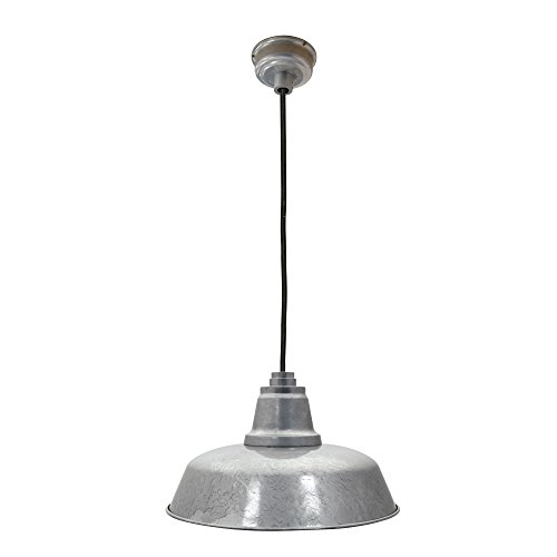 Cocoweb 10 Inch Galvanized Silver Goodyear LED Ceiling Mounted Pendant Barn Light with Adjustable Cord - BGY-10GA6