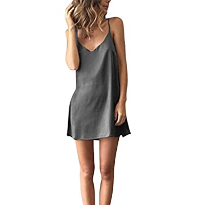Dressin Women's Sexy Mini Dress Women's Sleeveless Party Dress Cocktail Beach Dress Sundress Solid Strap V Neck Dress