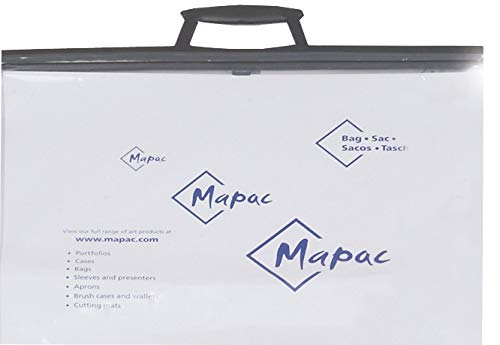 Artcare 11041003 35 x 10 x 27 cm A4 Synthetic Material Project Bag with Card Insert, Pack of 10, Clear Mapac