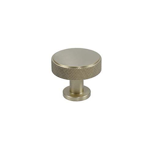 4 Pack Century Round Knob, Satin Brass, 1 3/8 inch Dia Cabinet Knob, Furniture Handle, Solid Brass, Diamond Knurling ()