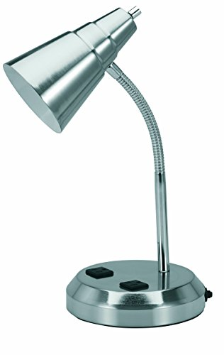 V-LIGHT Charging Outlet CFL Desk Lamp with 2 Grounded 2.5A Power Outlets and Adjustable Gooseneck Arm (VS20105BN)