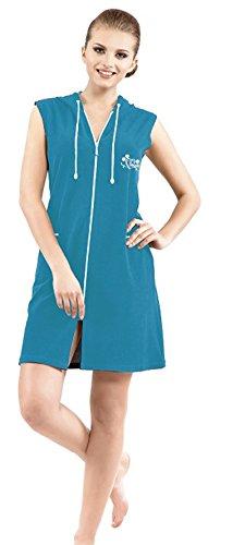 Brighton Robes Womens Turkish Terry Cotton Zipper Front with Hood Sleeveless Robe Dress Beach Dress (Large, ()