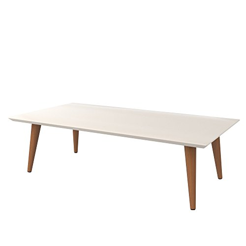 Mid Century Modern Lacquered Rectangular Top Coffee Table with Solid Wood Splayed Legs - Includes Modhaus Living Pen (Off White and Maple Cream) - Maple Modern Coffee Table