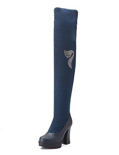 XZZ  Damen-Stiefel-Kleid   Party & Festivität-Kunstleder-Blockabsatz-Rundeschuh   Modische Stiefel-Schwarz   Blau   Rot B01KPZWCZA Sport- & Outdoorschuhe Attraktive Mode