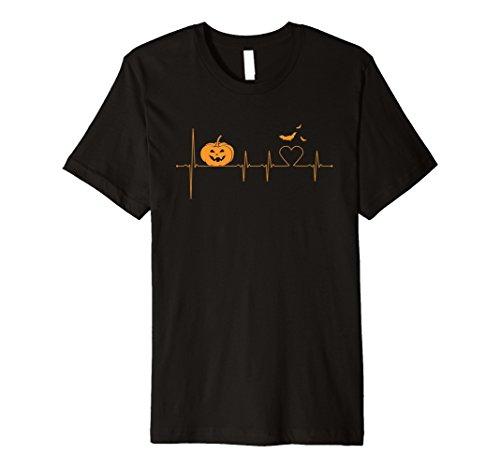 Halloween Pumpkin EKG Heartbeat Monitor Bat Heart T-Shirt