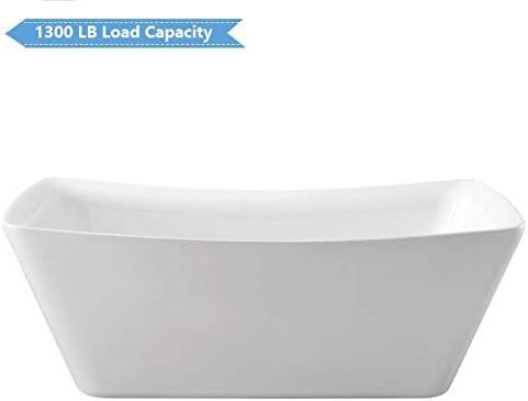 D-PW-4777 67 in Freestanding Bathtub Acrylic Pure White