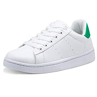 VEPOSE Women's Sneakers Fashion Casual Classic Lace up Lightweight Dress White with Green Sneakers for Women(8.5,Dress Sneakers-602-White Green)