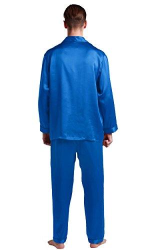 Classique Diamant À Homme Mm Col 22 Chemise Lilysilk 2 Bas Manches De Emsemble Bleu Pièces Pyjama Longues Soie Long wxHUzv