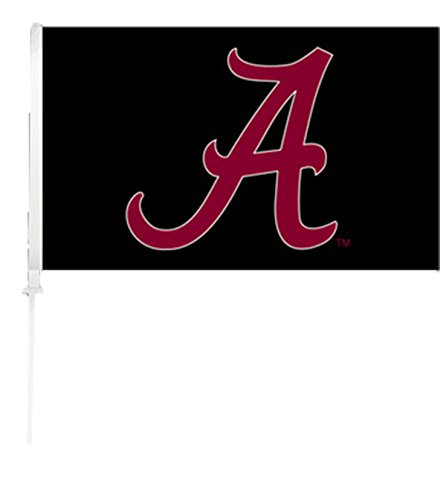 NCAA Alabama Crimson Tide Car Flag A Red with Black Background with Free Wall Brackett (Flag Tide Crimson Car Alabama)