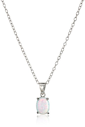 Sterling Silver Opal Pendant Necklace, 18