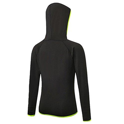 con Asciugatura Felpa Cappuccio Jogging Lunga Nero1 Hoodie Donna Manica Shirts Veloce T YiJee Fitness BPqxHE5t