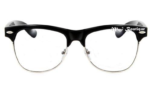 Black Semi Rimless Glasses Clear Lens Half Frame Horn - Glasses Horn Rimmed Men