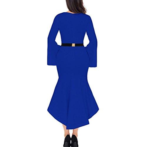 Maxi Gonna Da Elegante Irregolare Ballo Tromba Vestito Maniche Abiti A Collo Donna Formale Blue Rotondo Sera UwqnfxRFB