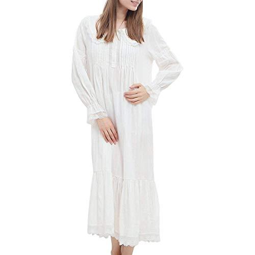 b3b33de736 Damen Weiss Romantisch Klassisch Prinzessin Nachthemd Schöne Pyjama Herbst  Langarm Winter Nachtwäsche Schlafanzug: Amazon.de: Bekleidung