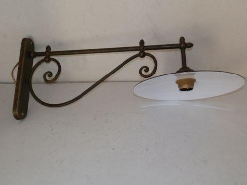 Lampada da parete interno esterno in ottone con piatto smaltato
