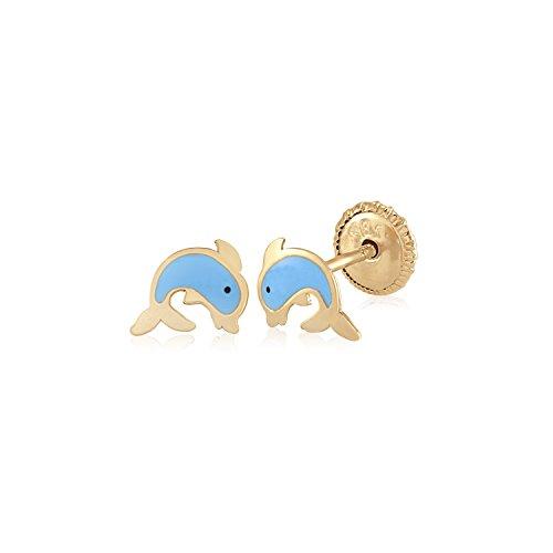 (MASSETE 14k Yellow Gold Screwback Earrings Dolphin Light Blue for Children)