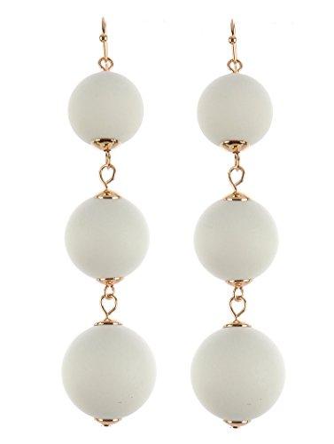 Trendy 3 Ball Wooden Balls Dangle Earrings (White)