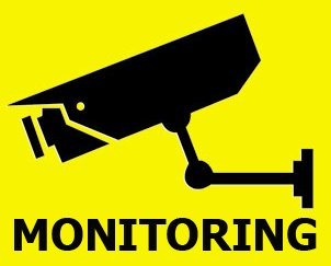 (5 Pack) MONITORING vinyl sticker - CCTV security video surveillance camera system warning sign to prevent theft and intrusion. Little and simple! Satisfaction or free from Rayna Creations Only!