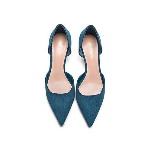 Yukun zapatos de tacón alto Pointed Stiletto High Heel Single Shoes Hollow Shallow Mouth Wild Mid-Heeled Shoes 5Cm Navy