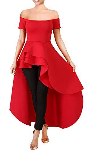 Women Ruffle High Low Asymmetrical Off Shoulder Turtleneck Tops Blouse Shirt Dress Red