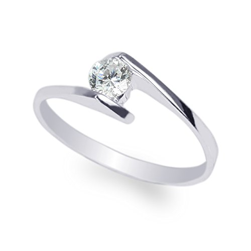 JamesJenny Ladies 10K White Gold 0.28ct Round CZ Beautiful Solid Ring Size 4.5 ()