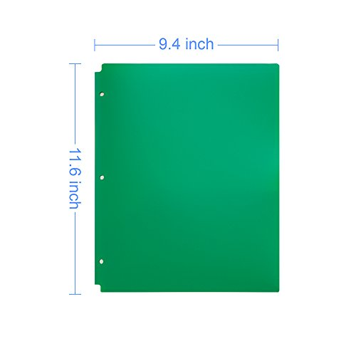COMIX 2 Pocket Letter Size Poly File Portfolio Folder with 3-Hole Punch - 12 Pack (Green) Photo #2