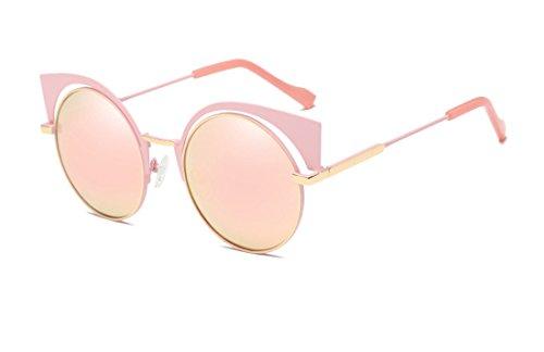 GAMT Retro Polarized Cat Eye Round Metal Sunglasses Design for Women Pink Frame Rose - Astigmatism Sunglasses