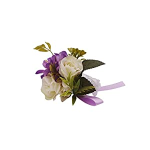 Abbie Home Wedding Wrist Corsage Brooch Boutonniere Set Party Prom Hand Flower Decor 2