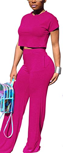 Women Solid Causal Stretchy Short Sleeve Tank Tops High Waist Flare Long Pants Sets
