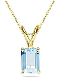 1.20-1.50 Cts of 8x6 mm AA Emerald-Cut Aquamarine Solitaire Pendant in 14K Yellow Gold