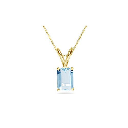 - 1.20-1.50 Cts of 8x6 mm AA Emerald-Cut Aquamarine Solitaire Pendant in 14K Yellow Gold