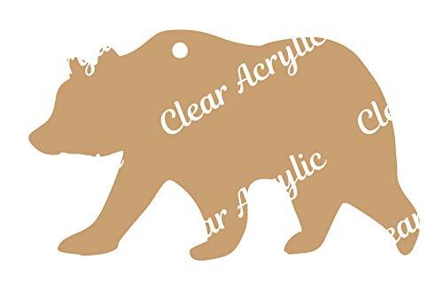 Clear Acrylic Blanks for Keychains, Bag Tags & Glitter Vinyl Crafts (Mama Bear)