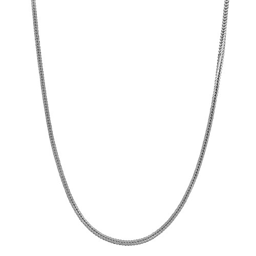 Kooljewelry 14k White Gold High Polish Square Foxtail Chain Necklace Nekclace (0.8 mm, 18 inch)