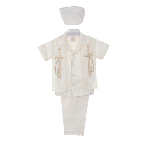 UPC 638170637322, Rain Kids Little Boys Ivory Shantung Silk Guayavera Shirt Stole Pants Baptism Set 6