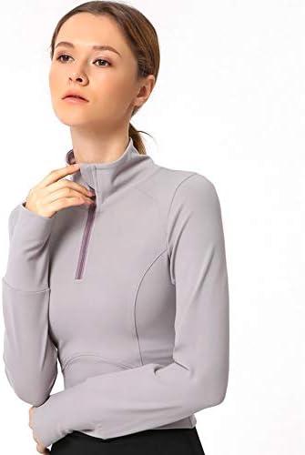 ワークアウトを実行するための通気ジムフィットネス服と女性ジッパーのスポーツシャツ、長袖ヨガクロップドトップス,A,M