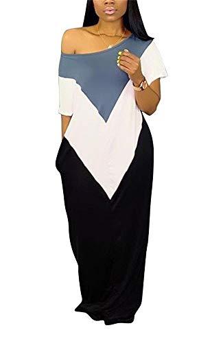 LKOUS Womens Summer Casual Cold One Shoulder Color Block Short Sleeve Loose Maxi Shirt Dress Plus -