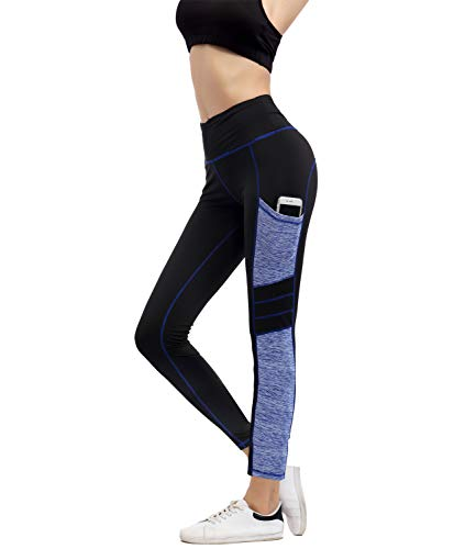 IMIDO Women's Yoga Capri Pants Sport Tights Workout Running Leggings with Side Pocket (L, Blue Long Pants)