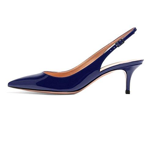 Talons Soireelady Femme arrière à Bleu Escarpins Petits Escarpins Bout Chaussures Bride fermé wqtwU14rn