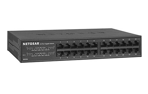 NETGEAR 24-Port Gigabit Ethernet Unmanaged Switch (GS324) - Desktop/Rackmount, Fanless Housing for Quiet Operation