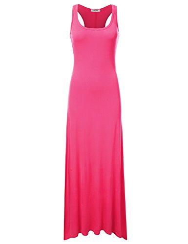 - NINEXIS Women's Sleeveless Scoop Neck Racerback Tank Maxi Dress Fuchsia S