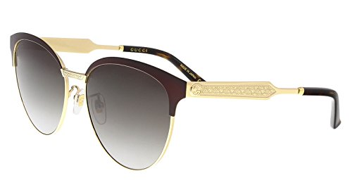 Gucci Women Design Sunglasses GG0074S 004 Burgundy Gold with Grey Gradient - Gucci Design